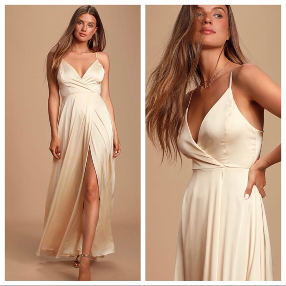 Lulu's Dresses & Skirts - Lulu's Ode To Love Satin Champagne Maxi Dress